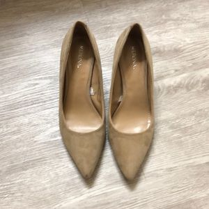 Merona beige suede-like spiked heels size 7